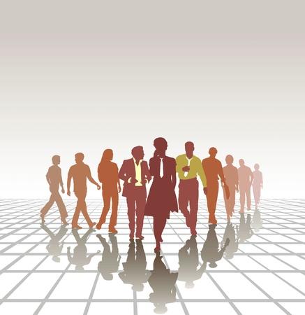 la société: Groupe de gens d'affaires d'affaires jeune équipe Travail d'équipe Illustration