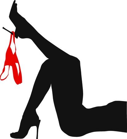 赤パンツの細い女性足
