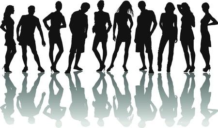 pareja adolescente: ilustraci�n vectorial del joven grupo de amigos  Vectores