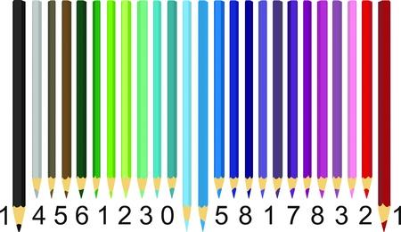 Illustration crayons sous forme de code à barres de couleur