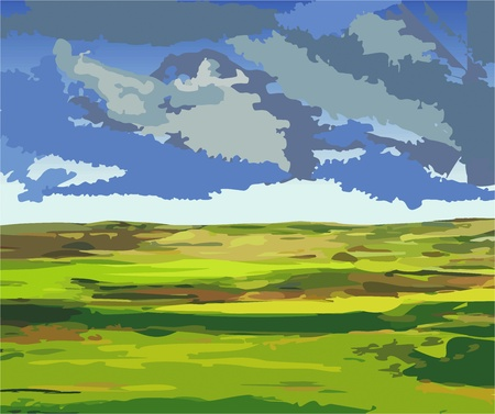 Vector illustration of a lowland country, shortly before the storm