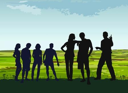 young people group: illustrazione di giovani in un viaggio nella campagna Vettoriali