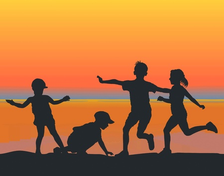 children playing at sunset on the beach Stock Vector - 10178442