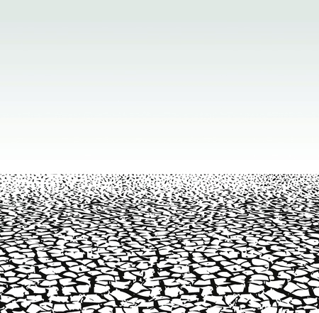 dryness: Environment devastation background, cracked extremely dried ground Illustration