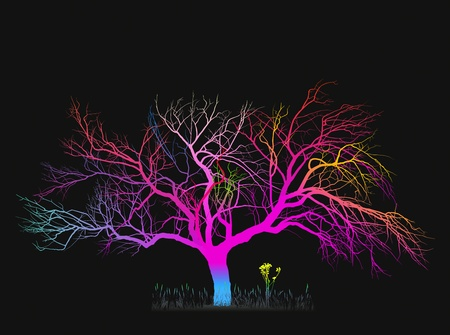 surreal color illustration of a tree on a black background Stock Illustration - 10628264