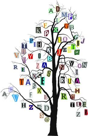 albero stilizzato: illustrazione vettoriale di albero stilizzato alfabeto