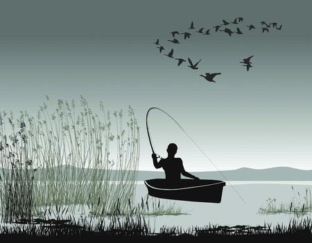 рыбаки: Иллюстрация рыбака на лодке на озере