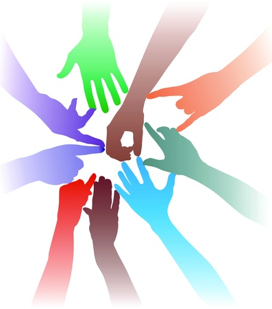 Teamwork by hand - colorful illustration Stock Vector - 11129276