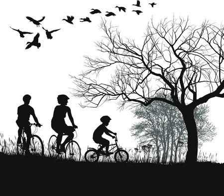 女性、男性、自転車で田舎の男の子のイラスト