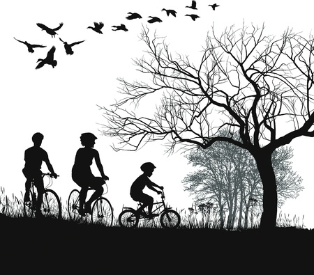 illustration of women, men and boys on bicycles in the countryside