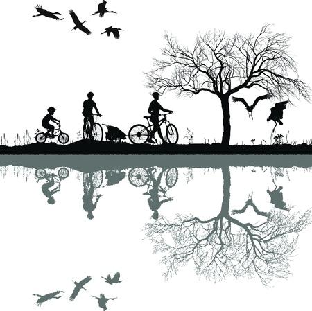 自転車およびその反射水で家族の実例
