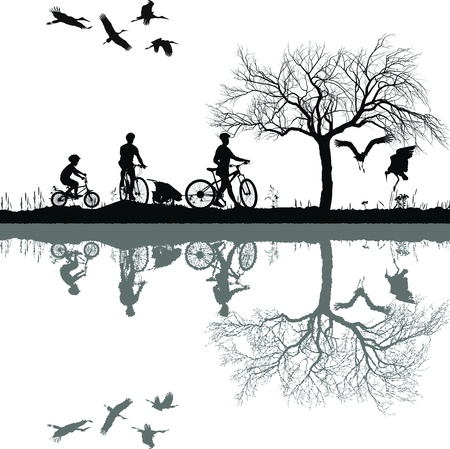 pato real: Ilustración de una familia en bicicleta y su reflejo en el agua Vectores