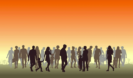 Illustration of silhouettes of people in the top horizon Vector