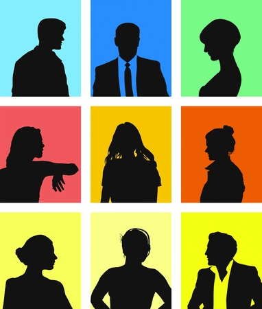 face silhouette: collection of various people avatars  Illustration