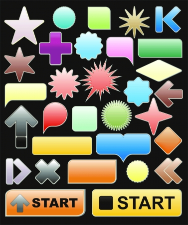 bright web elements, collection of brightly colored, glossy icons Stock Vector - 11580243