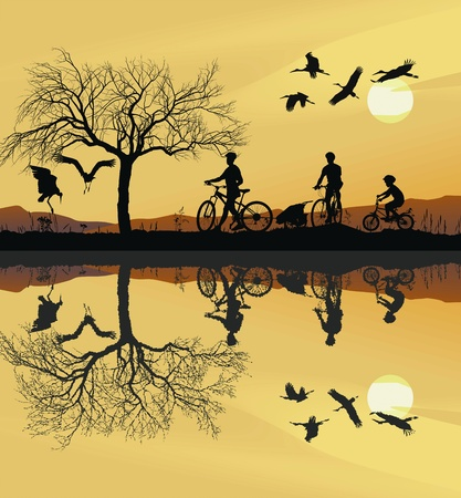 black stork: Illustration of a family on bicycles and their reflection in water