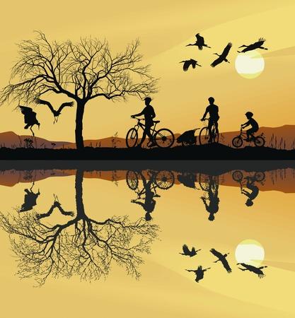 arbol geneal�gico: Ilustraci�n de una familia en bicicleta y su reflejo en el agua Vectores