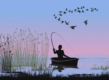 hombre pescando: ilustración de un pescador en el barco en el lago