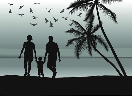 family with two children: Father and mother holding sons hand on the beach Illustration