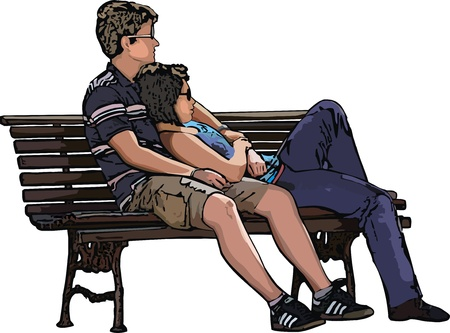 Vector illustration of girl and boy sitting on the bench Vector