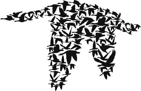 piume: oche volanti creare una grande silhouette di oche, illustrazione vettoriale