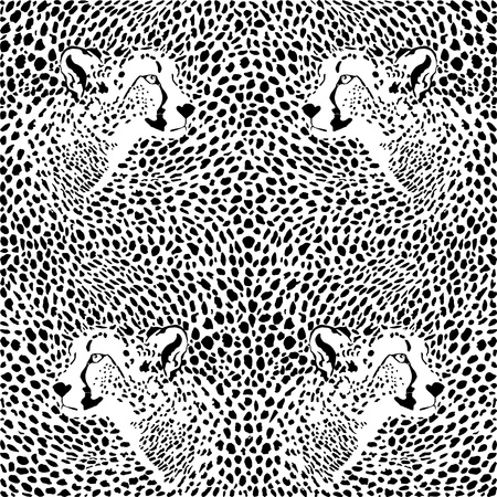 illustration pattern background cheetah skins and heads Ilustracja