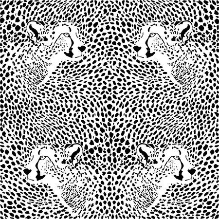 illustration pattern background cheetah skins and heads Illustration