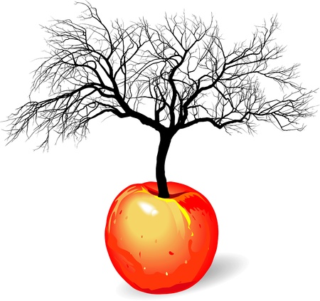 vector illustration of a tree growing out of apple fruit Vector
