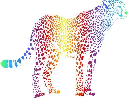 chita: guepardo con camuflaje cortina de humo del arco iris Vectores