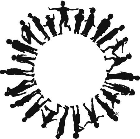 girotondo bambini: illustrazione di alcuni bambini nel cerchio