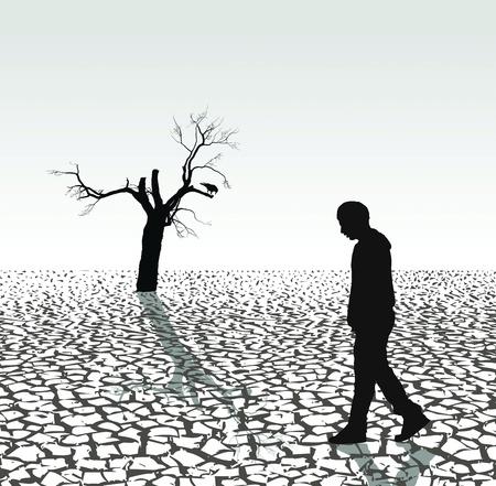 最後の人間、カラスおよび乾燥した国の木のイラスト
