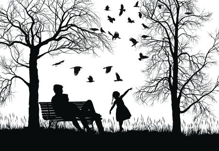 公園、木およびカラスの若い家族の実例