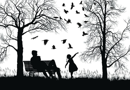illustration of a young family in the park, trees and crows Illustration