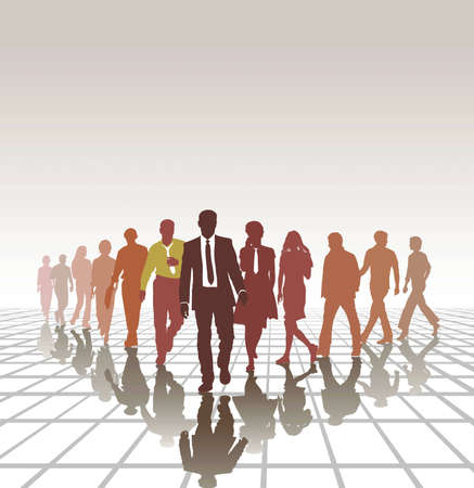 vector illustration group young people forming a business team Stock Vector - 12486301