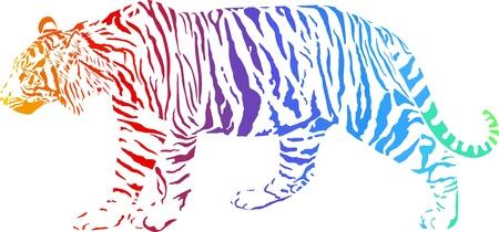 tigres: Tiger con camuflaje cortina de humo del arco iris Vectores