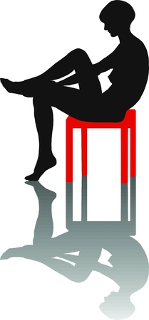 illustration of silhouette of a girl sitting on a chair Stock Vector - 13175312