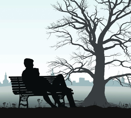 oak tree silhouette: illustration young couple on a bench behind the historic city Illustration