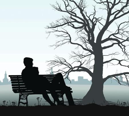 familia parque: ilustraci�n joven pareja en un banco detr�s de la hist�rica ciudad Vectores