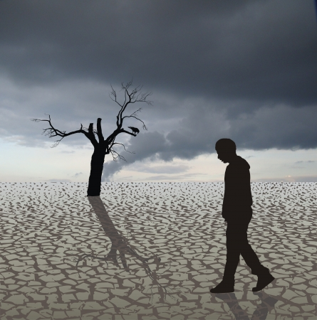 desiccation: Illustration of the last humans, crows and tree in the arid country