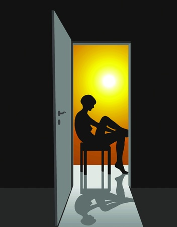 illustration of girl who sits in the open door Vector