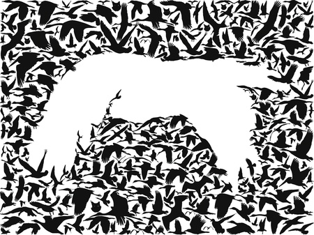 many birds flying in the sky creates a silhouette of bird predators Vector