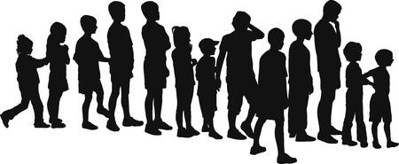 ベクトル シルエット、列に並んで立って、子供たち