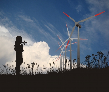 Illustration of the wind turbines and a girl with propeller illustration