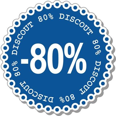 ochenta: pegatinas ilustraci�n ochenta por ciento de descuento del precio original
