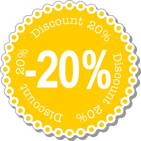 illustration stickers for twenty percent discount Stock Vector - 14403741