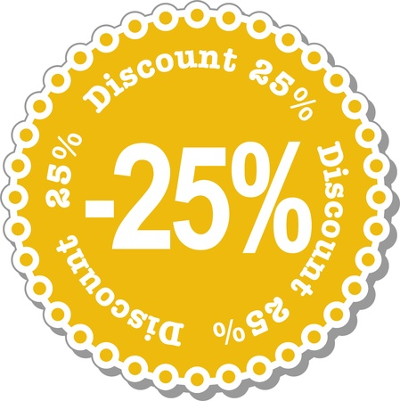 hang tag: illustration stickers for twenty five percent discount