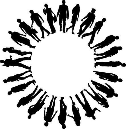 様々 な女性および人のサークルでの図  イラスト・ベクター素材