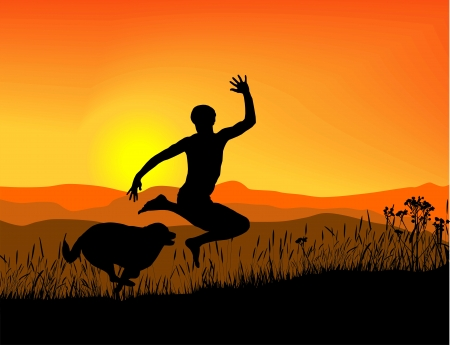 antics: The joy of movement at sunset in the mountains Illustration