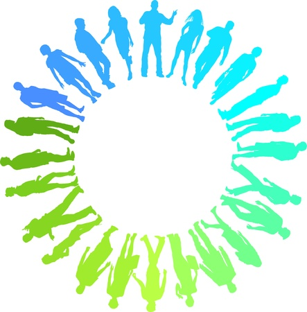 green and blue vector illustration of people in the circle Stock Vector - 14782158