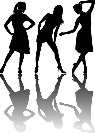 illustration of three dancing girls, black silhouettes on white background Stock Vector - 14906333